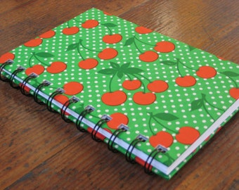Handmade Spiral Bound Polka Dots and Cherries (Red and Green) - Journal/Notebook