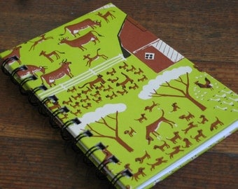 Handmade Journal - Spiral Bound Notebook With Green and Brown Farm Scene