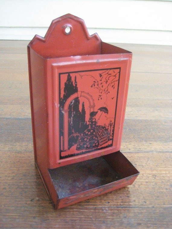 Vintage Tin Match Holder (Woman with Umbrella Silhouette)