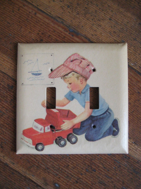 Double Light Switch Cover Plate for Children's Room (Boying Playing With Truck)
