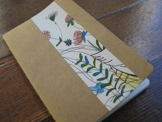 Whimsical Floral Design  - Small/Pocket Moleskine Cahier Journal/Notebook