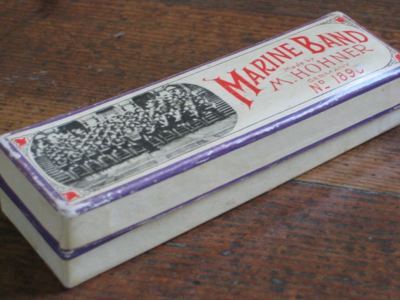 Vintage Marine Band Harmonica in Original Box (Made by M. Hohner in Germany)