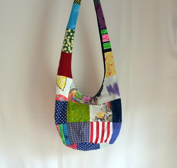 Patchwork Hobo Bag, Upcycled, T-shirt, Patterned, Sling Bag, Hippie Purse
