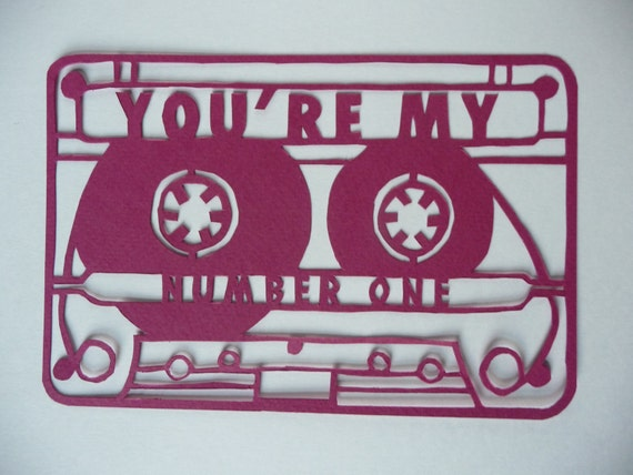 CASSETTE TAPE PAPERCUT  //  unique valentine card  //  you're my number one