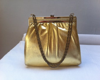 Gold Lamé Evening Bag - late 1960s early 1970s Harry Levine