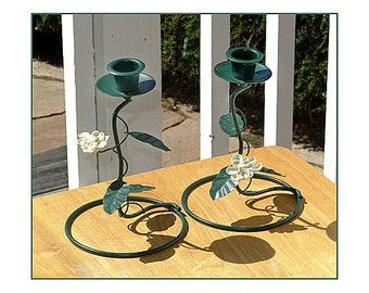Half Price SHABBY CHIC White Flowers and Green spiraling Stems with Leaves, Pair Candlesticks