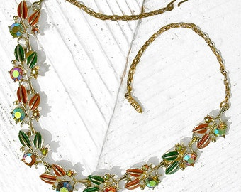 FALL COLORS 50s Bling Necklace, Enamel Autumn Leaves and Aurora Borealis Rhinestone flowers, signed Tara