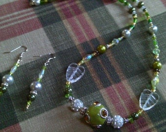 Shades of Green, Crystal  Encrusted  Czech & Lamp Work Beads, 2 pc. Set, Summer Jewelry Sets, Necklace Set,  Necklace and Drop Earrings Set