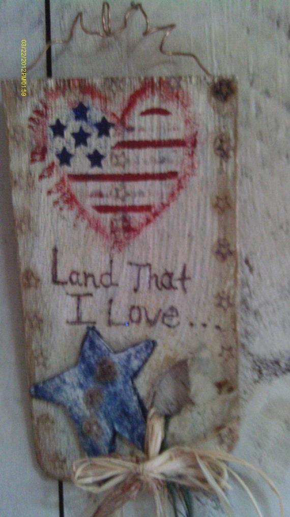 Primitive Americana Patriotic Rustic Wall Or Door Hanging