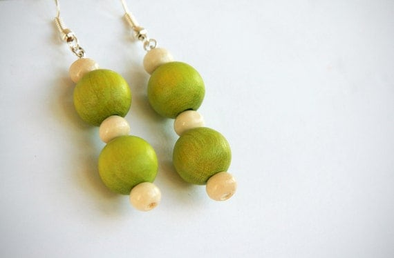 Green dangly long beaded earrings - light lime green beads, cream wood bead earrings, Mothers Day, spring colours, spring green beads