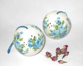 Blue rose pomanders for closet or drawer sachets by Andre Richard, set of two