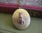 Vintage Rabbit  Bunny Locket large  vintage oval locket copper bunny easter gift