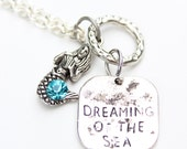 Silver Mermaid Necklace Dreaming of the Sea with Blue Chantron Jewel Stone