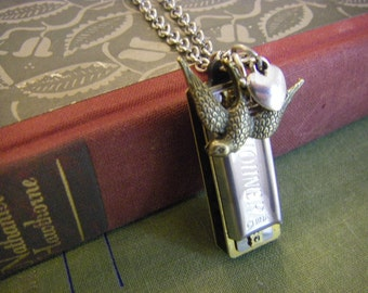 Mini Harmonica Necklace songbird working harmonica jewelry