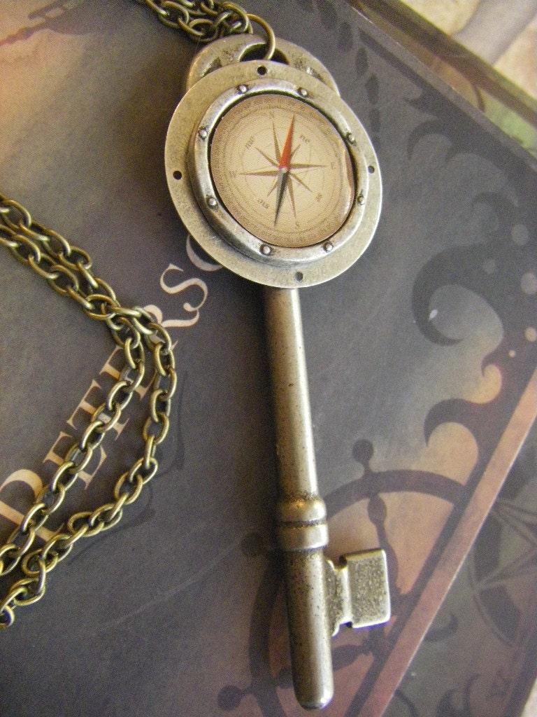 Antique Key Compass Necklace Vintage Key Faux Compass Charm