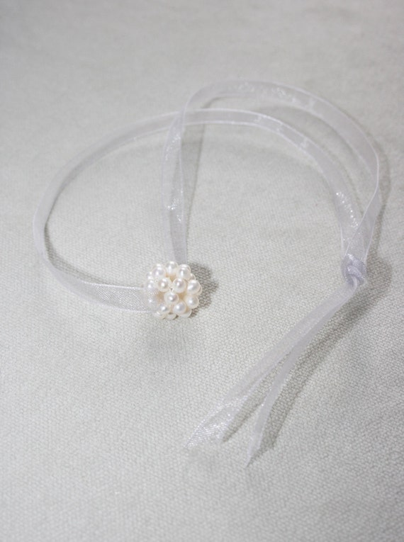 Pearl White Freshwater Pearl Cluster Bead Necklace on Shimmering silver organza ribbon Weddings Flower Girl Bridesmaids