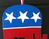 Republican Elephant Wooden Door Hanger