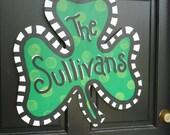 St. Patrick's Day Shamrock Wooden Door Hanger
