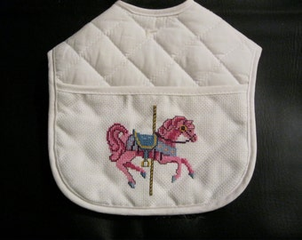 Cross Stitch Carousel Horse Quilted Bib