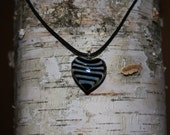 Adjustable Black & White Stripe Glass Heart Pendant Necklace