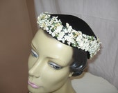 Cute Vintage 50's Era Black Cap with Tiny White Flowers