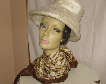 Vintage 60's Era White Faux Fur Hat with Cream Grosgrain Ribbon Accent