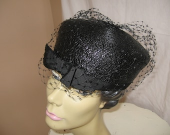 Vintage Black Straw Hat with Black Grosgrain Ribbon and Netting