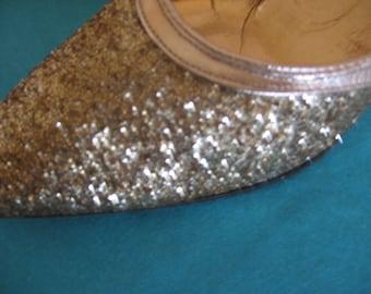 Awesome 1960s Sears Gold Glitter Kitten Heel Shoes