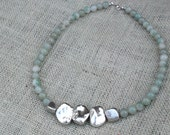 RESERVED for khy8w - Green Aventurine & Silver Nugget Necklace