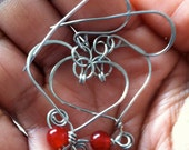 Hearts wire and Red Beads Wrapped Earrings