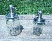 Mason Jar Soap or Lotion Dispensers - Set of Two - 8 and 16 ounce sizes - Stainless Bird Head Pump - Free Chalkboard Labels