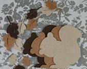 Three squirrels, leaves and acorns