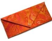 Batik Clutch Wallet, Orange Batik Flowers