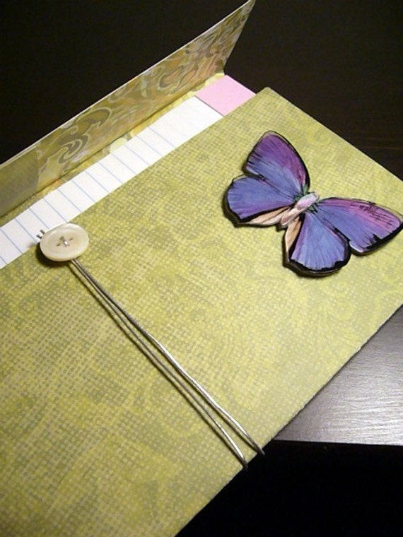 RESERVED for laurasbotanicalart :Butterfly Notebook, Moss Green Notepad with Purple and Blue Butterfly Applique (5x8 inches, refillable)