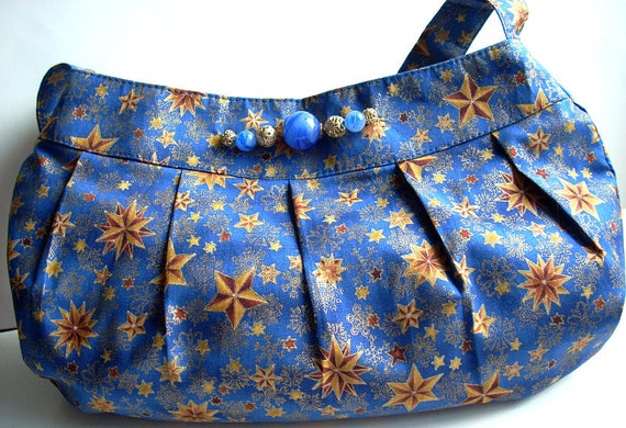 Large Handbag Purse, Midnight Blue Celestial Stars & Snowflakes, Buttercup Style