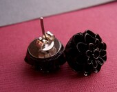 Dark Romance Dahlia Flower Studs.  14mm. Black.