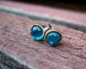 Aqua Daffodil Flower Studs. Turquoise.  Glow Post Earrings.
