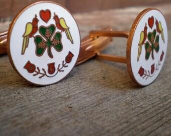 Cuff Links. Handmade. Dutch Irish Traditional Good Luck Green Shamrock, Birds, Hearts, Enamel