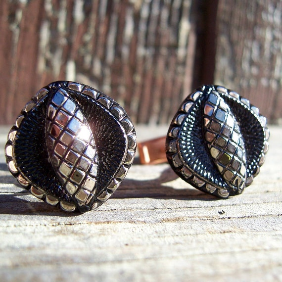 Snake Eyes Cuff Links. Black and Silver Vintage Glass Cabochon. Buy 2 Get 1 Free