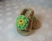 SALE-LAST PAIR -Size 0-3 Months Only - Baby Girl Sandals in Tan with Lime Green Loopy Flower and Rhinestone Center