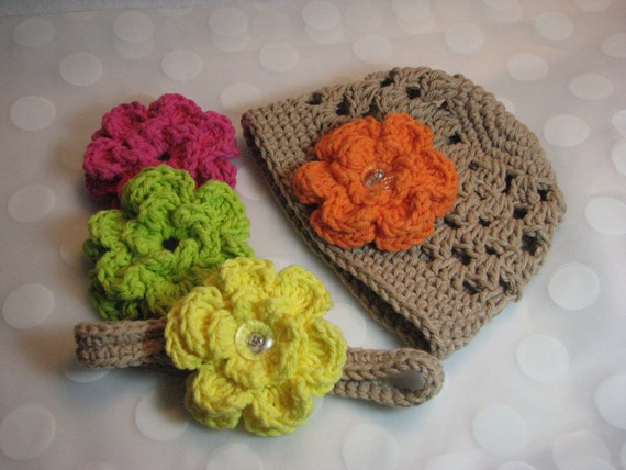 Baby Girl Flower Beanie Crocheted in Khaki with Adjustable Headband and 4 Interchangeable Flowers