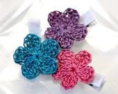 Simple Crochet Flower Baby Girl Hair Clip Set