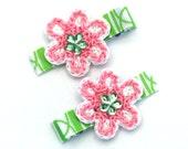 Pink and Green Crochet Flower Hair Clip