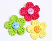 3 Bright Crochet Flower with Button Center Hair Clips