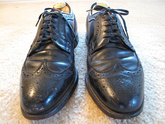 Vintage Long Wing Tip Black Leather Brogues Shoes Made in USA