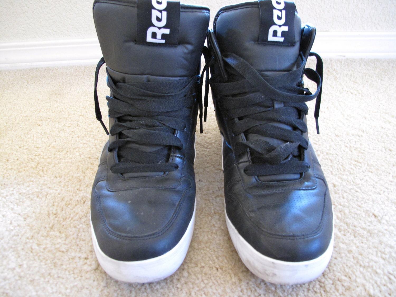 retro reebok black high top sneakers tennis shoes