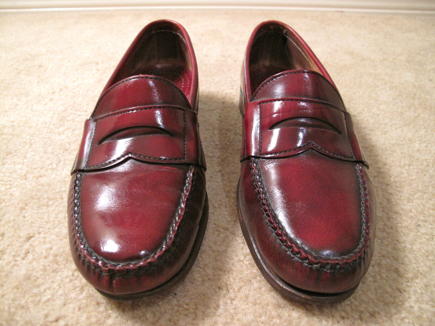 Vintage Oxblood Leather Penny Loafers Shoes Made in USA