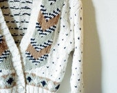 SALE - Vintage Brown Black White Geometric Button Up Sweater