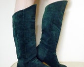 Forest Dark Green Foldover Leather Vintage Boots