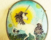 Vintage Plastic Colorful Unicorn Stained Glass